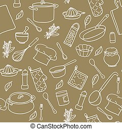 Seamless pattern with hand drawn cookware on olive colour...