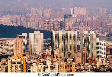 City landscape of buildings and apartments in Taipei,...