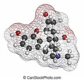 Oxymorphone opioid analgesic drug molecule. Atoms are...