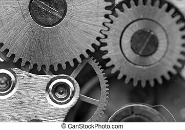 Black white Metallic Background with metal cogwheels a...