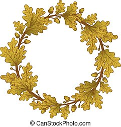 Gold Oak Wreaths - Gold Oak Wreath , isolated on white,...
