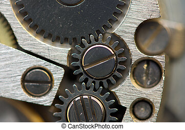Metallic Background with metal cogwheels a clockwork Macro