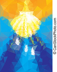 baptism symbol in triangular style blue and gold colours