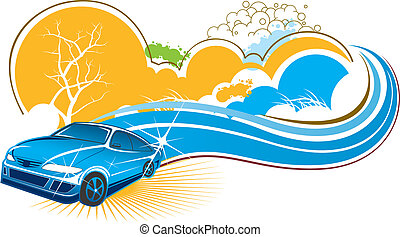 car with nature scenery