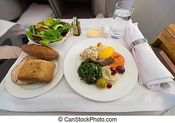 Business class starter - Arabic mezze as appetizers on a...