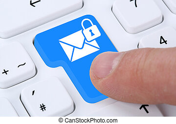 Sending encrypted E-Mail email mail message on computer -...
