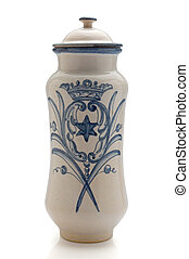 old ceramic canister used in European pharmacies to store...