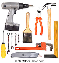 Different tools collage isolated on white background