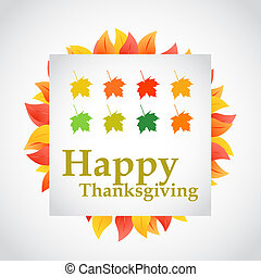happy thanksgiving autumn set of leaves sign illustration...