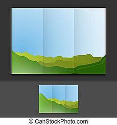 tri fold summer landscape template illustration design...