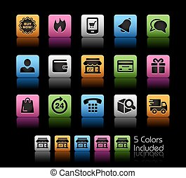 E-Shop Icons - The Vector file includes 5 color versions for...