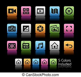 Media Interface Icons - The Vector file includes 5 color...