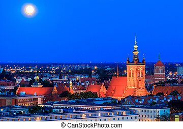 Gdansk Catholic church of St Catherine at night - View of...