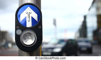 Traffic Light Button - A Traffic light button in the Dublin...