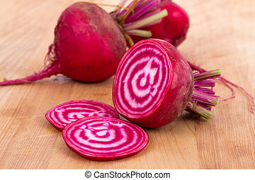 Chioggia striped beet on wood table - Chioggia striped or...