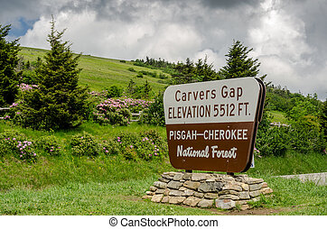 Carvers Gap Sign - Carvers Gap is lush with pink and purple...
