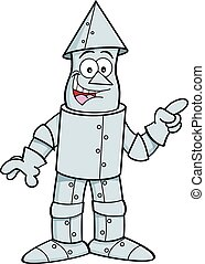 Cartoon tin man pointing. - Cartoon illustration of a tin...
