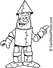 Cartoon tin man pointing. - Black and white illustration of...