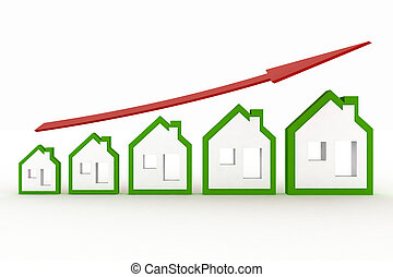 Growth in real estate shown on graph 3d illustration