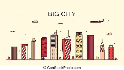 Big city skyline Trendy vector illustration linear - Big...