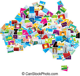 Australia map is made up of lots of photos