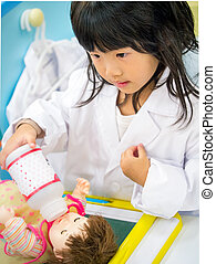 Doctor occupation role playing girl - Adorable asian girl...