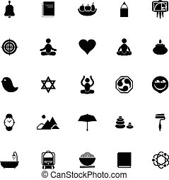 Zen society icons on white background