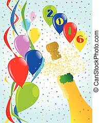 Champagne Party 2016 - Multi coloured balloons, confetti and...