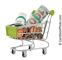 Shopping cart full of money, isolated on white background
