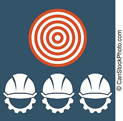 Hard Hat Construction Icon, Target business concept.