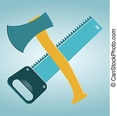 saw and ax, carpentry tools