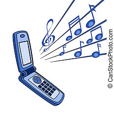 handset   - illustration   of  handset  with  some  note