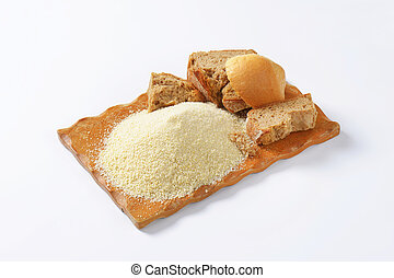 Stale bread and finely ground breadcrumbs - Pieces of stale...