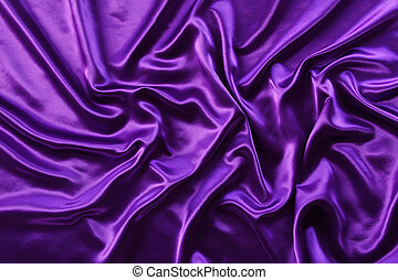 Silk fabric - Closeup of rippled purple silk fabric