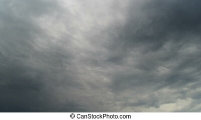 Clouds moving in the blue sky. - White, rain, gray, haze,...