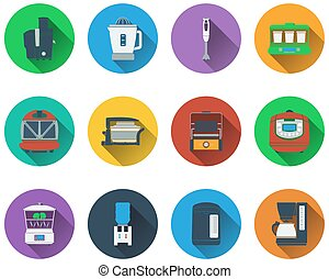Set of kitchen equipment icons - Set of kitchen equipment...