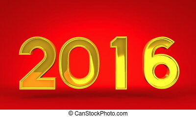 Kumade And 2016 On Red Background. 3D render Animation For...
