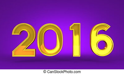 Kumade And 2016 On Purple Background 3D render Animation For...
