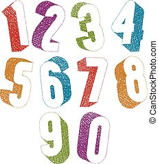 Retro style 3d bold numbers set with hand drawn lines...
