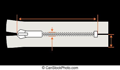 Zipper dimension Zip specification vector illustration...