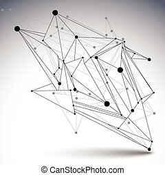 3D vector abstract technology illustration, perspective...