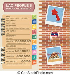 Laos infographics, statistical data, sights Vector...