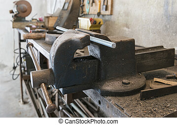 bench vise - old bench vise with threaded bar and old work...
