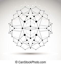 Abstract 3D origami polygonal wireframe object, vector geometric design element, clear eps 8.