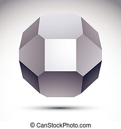 3D origami abstract object, vector