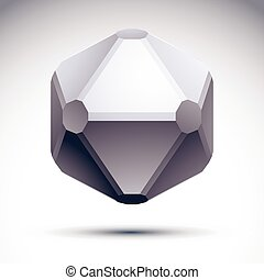 3D origami abstract object, vector abstract design element, clear eps 8.