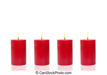 Four red candles, four burn - Four red candles before white...