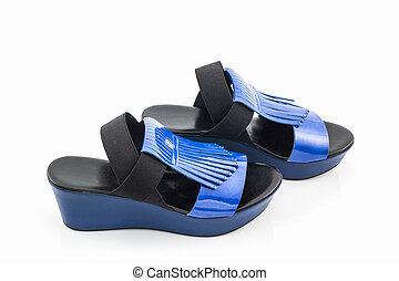 Blue women shoes.