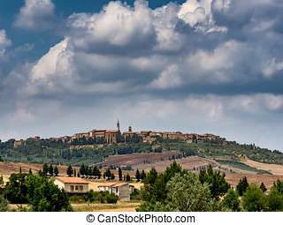 Panorama of Pienza in Tuscany