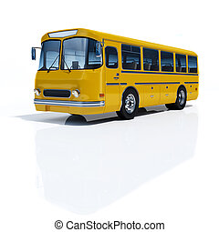 Yellow Buses - Bus yellow on a white background 3d rendering...